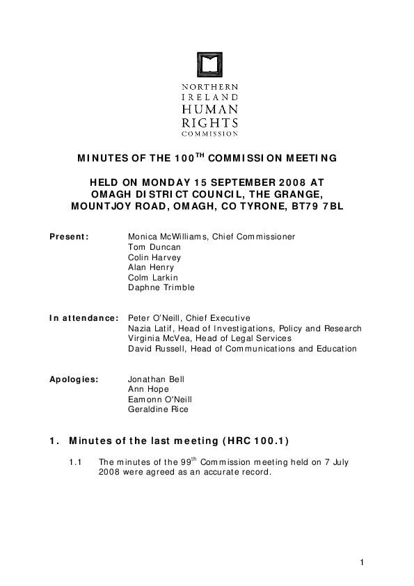 100th Commission Minutes 15th September 2008