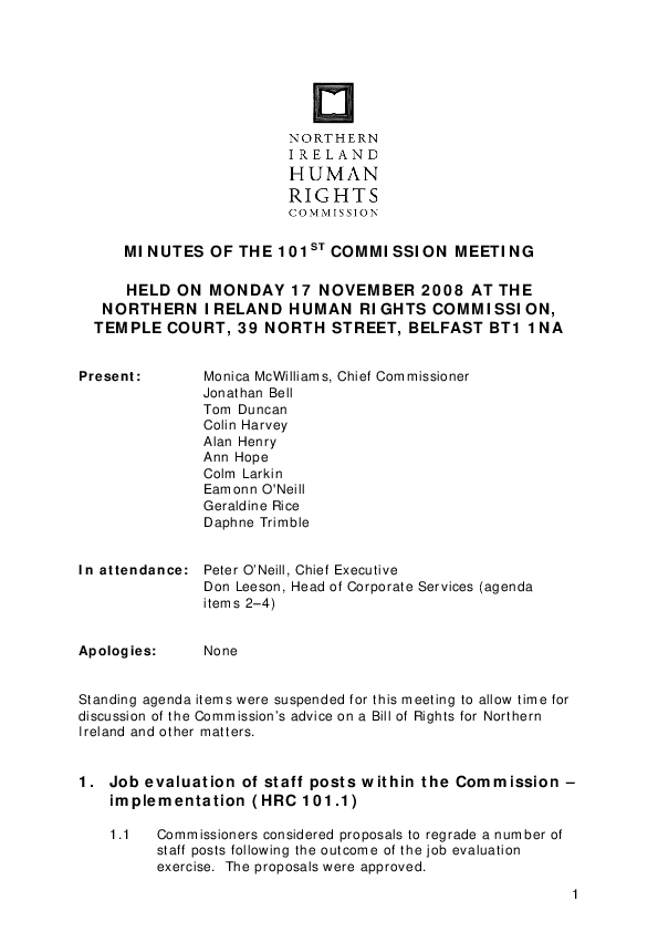 101st Commission Minutes 17th November 2008