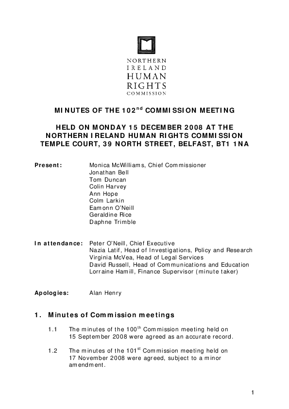 102nd Commission Minutes 15th December 2008