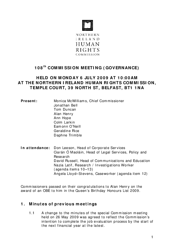 108th Commission Minutes 6th July 2009