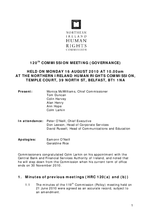 120th Commission Minutes 16th August 2010