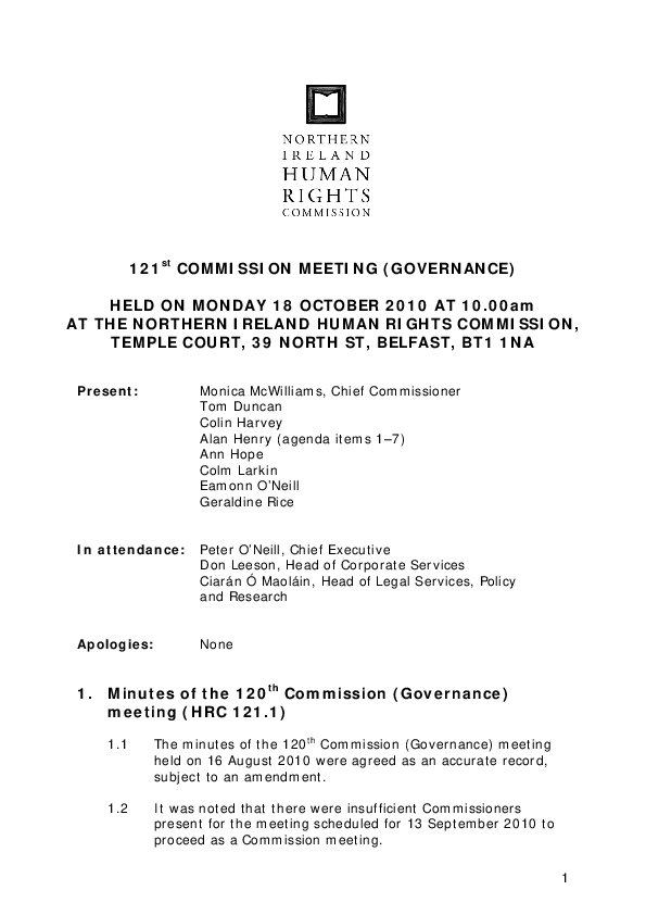 121st Commission Minutes 18th October 2010