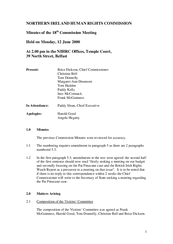 18th Commission Minutes 12th June 2000