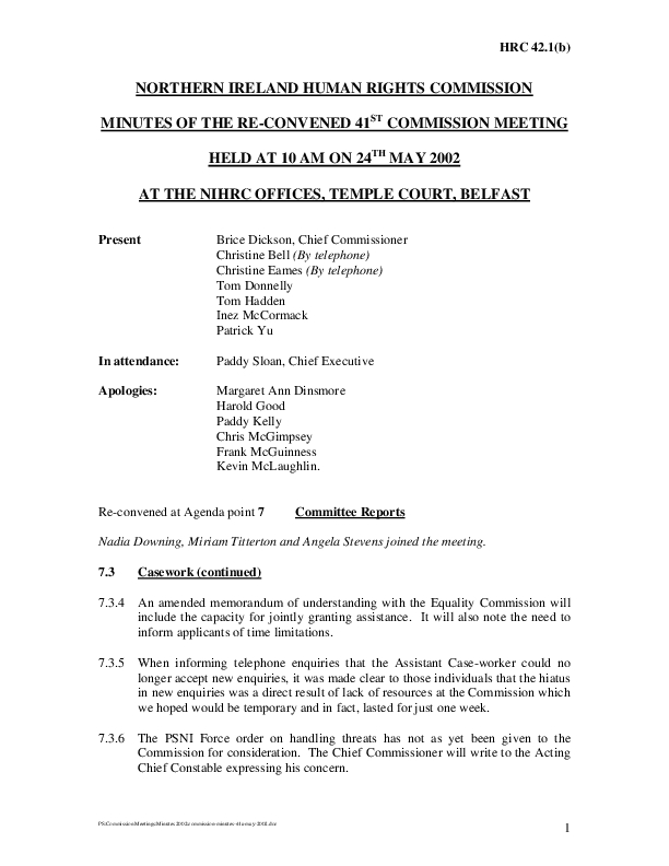 41st Commission Minutes 24th May 2002 no.2