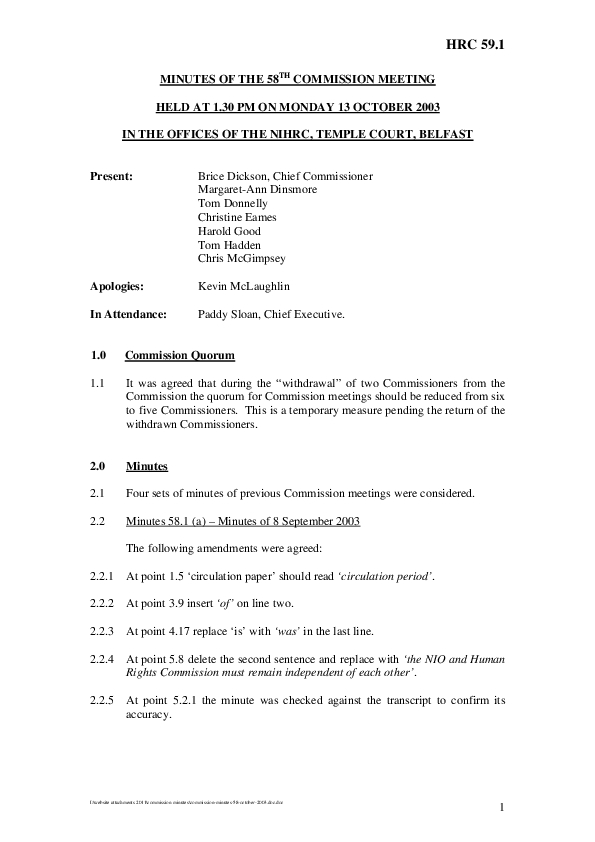 58th Commission Minutes 13th October 2003