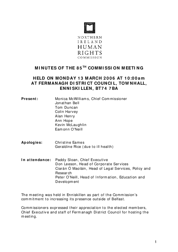 85th Commission Minutes 13th March 2006