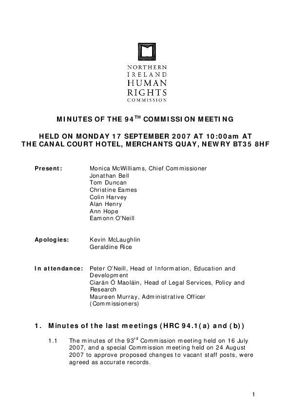 94th Commission Minutes 17th September 2007