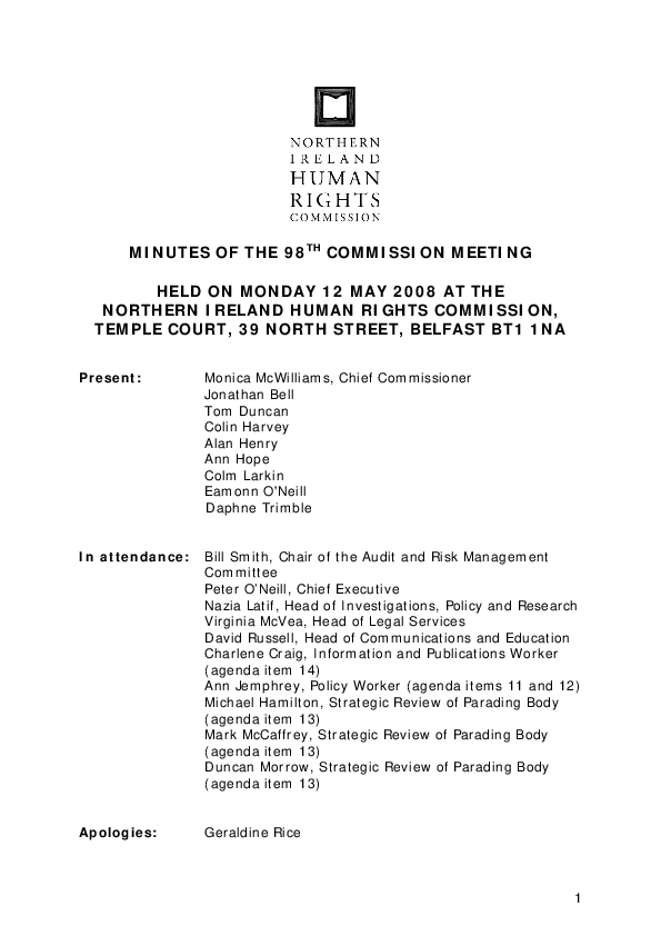 98th Commission Minutes 12th May 2008