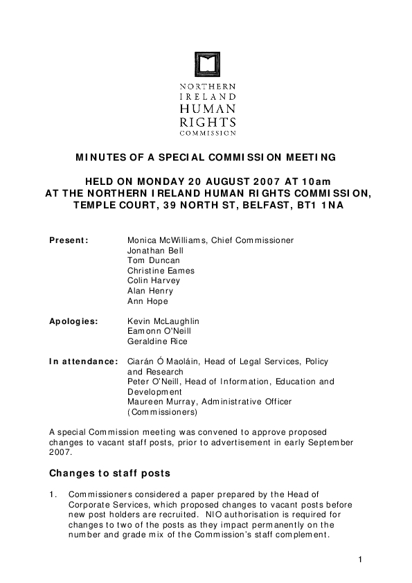 Special Commission Minutes 20th August 2007
