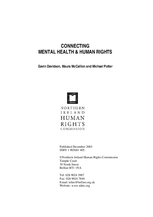 Connecting Mental Health and Human Rights