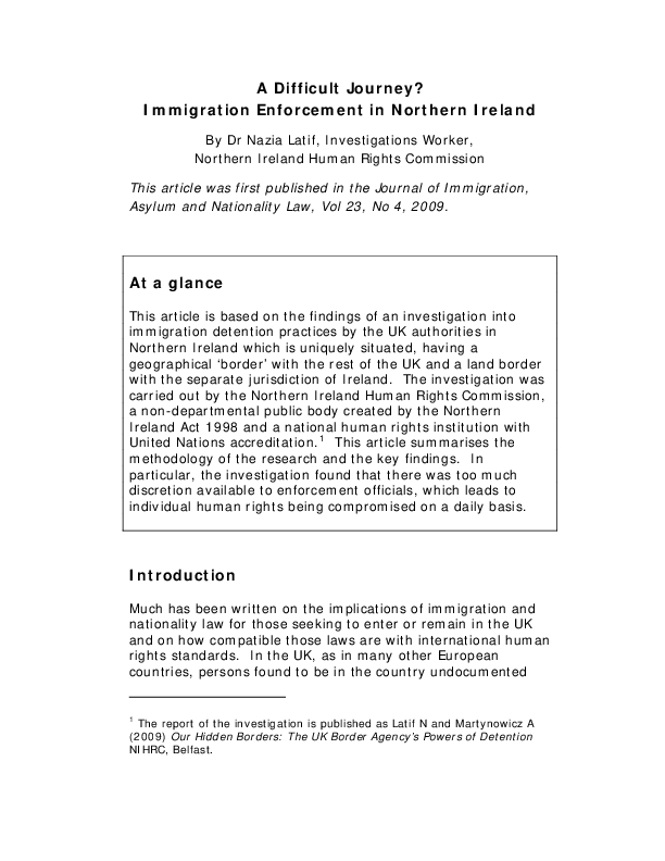 Immigration Enforcement in Northern Ireland