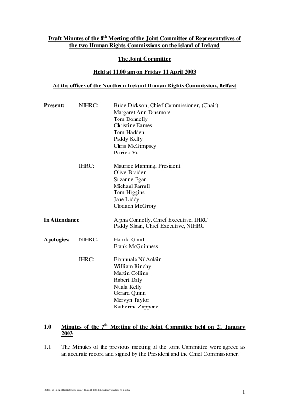 Joint Committee April 2003