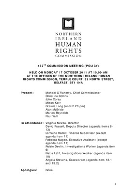 132nd Commission Minutes 17th October 2011