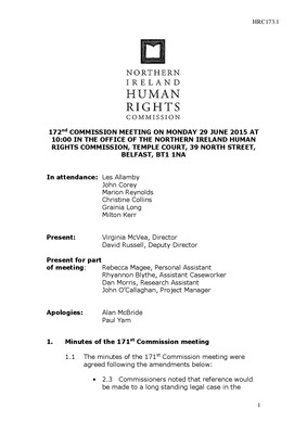 172nd Commission Minutes 29th June 2015