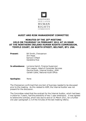25th Audit and Risk Management Committee Minutes  24th February 2011