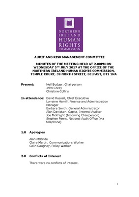 52nd Audit and Risk Management Committee Minutes 5th July 2017