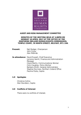 50th Audit and Risk Management Committee Minutes10th April 2017