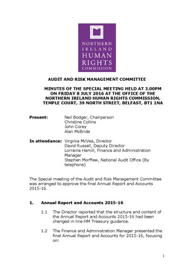 Special Audit and Risk Management Committee Minutes 8th July 2016
