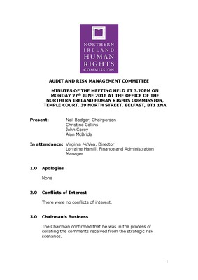 46th Audit and Risk Management Committee Minutes 27th June 2016