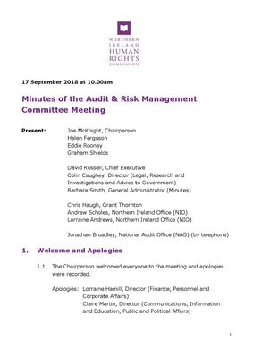 57th Audit and Risk Management Committee Minutes 17th September 2018