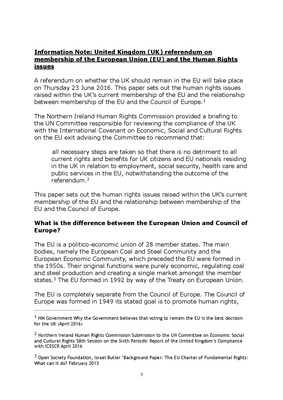 Information Note: UK referendum on membership of the EU and the Human Rights issues