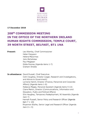 208th Commission Minutes 17th December 2018