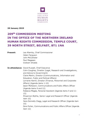 NI Human Rights Commission meeting January 2019