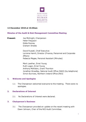 Audit & Risk Management Committee December 2018