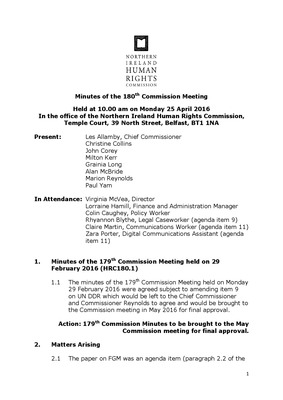 180th Commission Minutes 25th April 2016