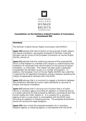 Advice on Freedom of Conscience BIll