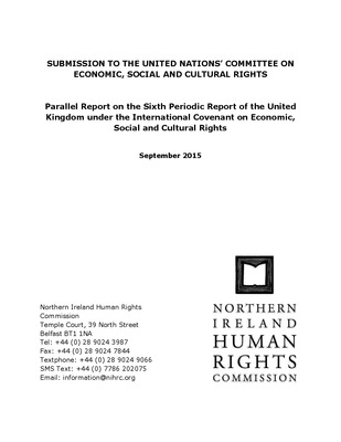 Submission to the United Nations Committee on Economic, Social and Cultural Rights