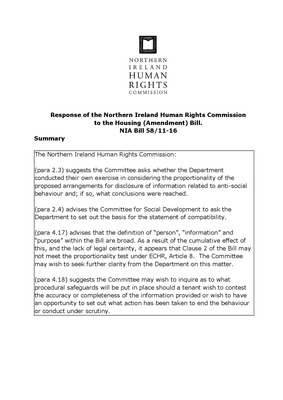 NIHRC Response to the Housing Amendment Bill