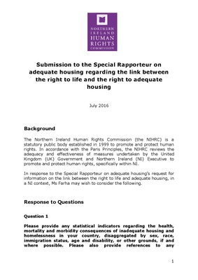 Submission to the Special Rapporteur on adequate housing regarding the link between the right to life and the right to adequate housing