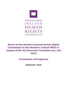 Advice to the Northern Ireland Office in respect of the NI Act 2019 on Termination of Pregnancy