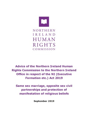 Advice to the Northern Ireland Office on same sex marriage, opposite sex civil partnerships and protection of manifestation of religious beliefs