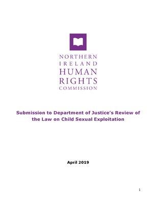 NIHRC Submission to Department of Justice Review of the Law on Child Sexual Exploitation