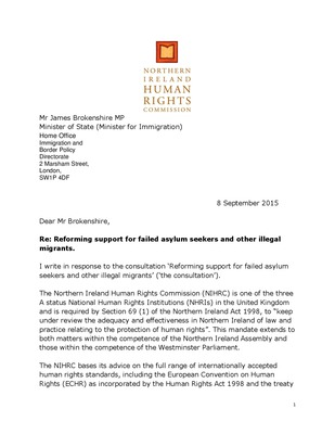 Response to Home Office Consultation on Reforming Support for Failed Asylum Seekers