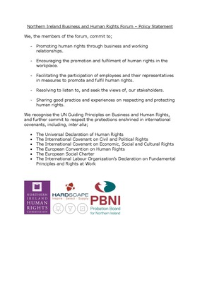 Northern Ireland Business and Human Rights Forum Policy Statement