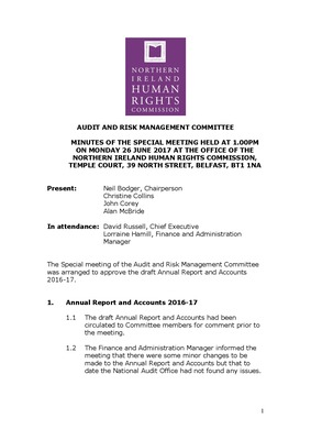 Audit & Risk Management Committee June 2017