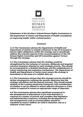 Submission of the Northern Ireland Human Rights Commission to the Department of Justice and Department of Health consultation on improving health within criminal justice