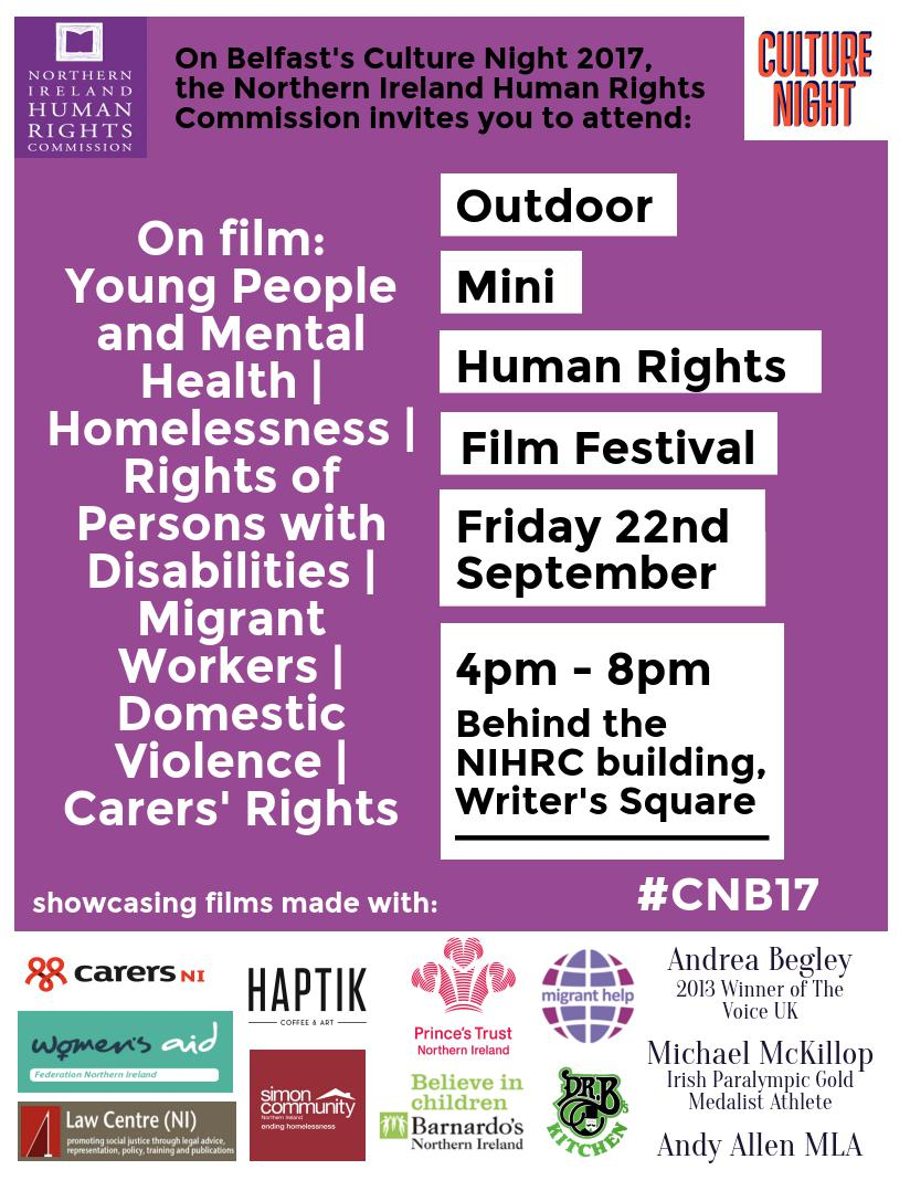 NIHRC hosts Film Festival at Culture Night Belfast. The Northern Ireland  Human Rights ...